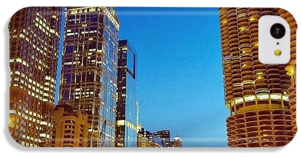 City iPhone 5c Case - Chicago River Buildings At Night Taken by Paul Velgos