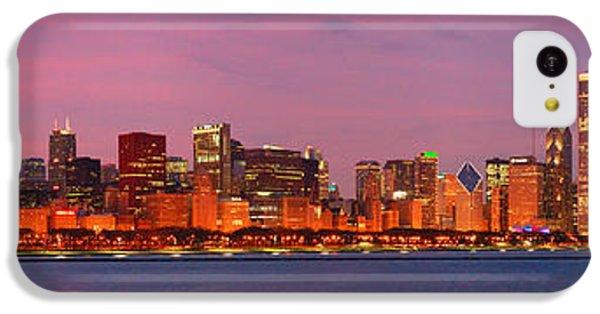 City Sunset iPhone 5c Case - Chicago Skyline At Dusk 2008 Panorama by Jon Holiday