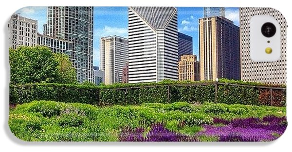 Chicago Skyline At Lurie Garden IPhone 5c Case by Paul Velgos