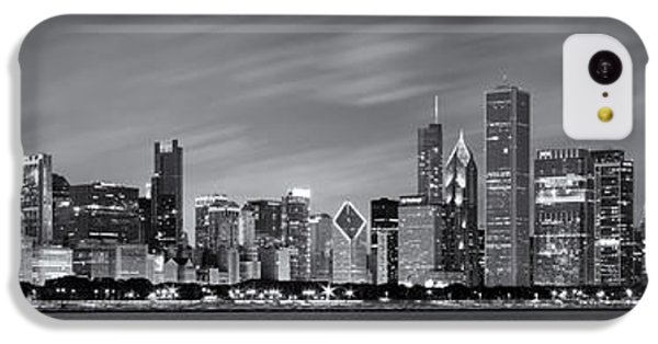 Lake Michigan iPhone 5c Case - Chicago Skyline At Night Black And White Panoramic by Adam Romanowicz