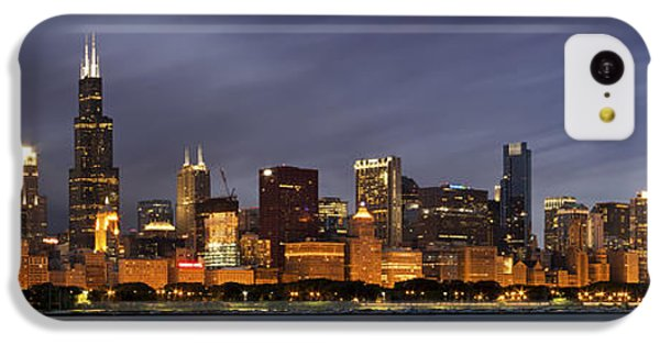Lake Michigan iPhone 5c Case - Chicago Skyline At Night Color Panoramic by Adam Romanowicz