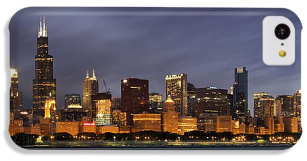 Chicago Skyline At Night Color Panoramic IPhone 5c Case by Adam Romanowicz