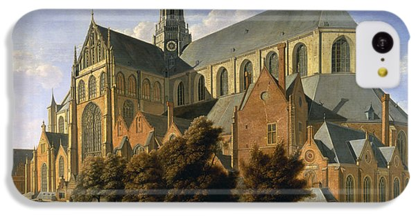 Harlem iPhone 5c Case - Church Of St. Bavo In Haarlem, 1666 Oil On Panel by Gerrit Adriaensz Berckheyde