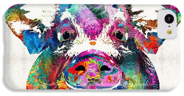 Colorful Pig Art - Squeal Appeal - By Sharon Cummings IPhone 5c Case by Sharon Cummings