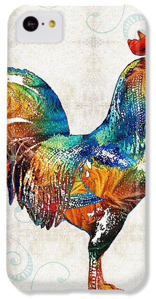 Rooster iPhone 5c Case - Colorful Rooster Art By Sharon Cummings by Sharon Cummings