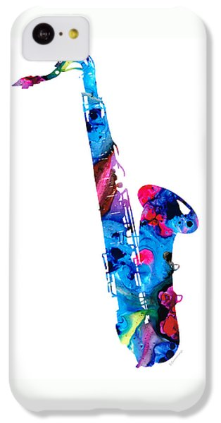 Music iPhone 5c Case - Colorful Saxophone 2 By Sharon Cummings by Sharon Cummings