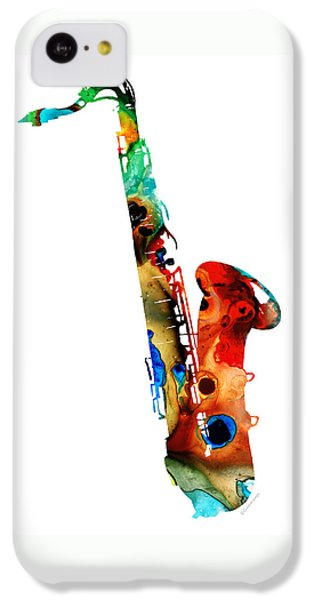 Jazz iPhone 5c Case - Colorful Saxophone By Sharon Cummings by Sharon Cummings