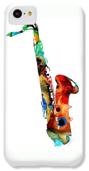 Saxophone iPhone 5c Case - Colorful Saxophone By Sharon Cummings by Sharon Cummings