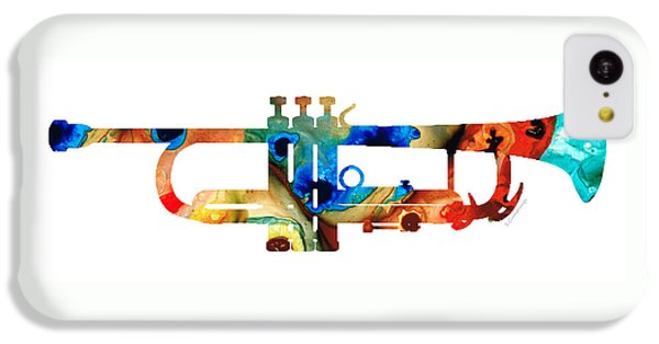 Music iPhone 5c Case - Colorful Trumpet Art By Sharon Cummings by Sharon Cummings