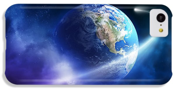 Planets iPhone 5c Case - Comet Moving Passing Planet Earth by Johan Swanepoel