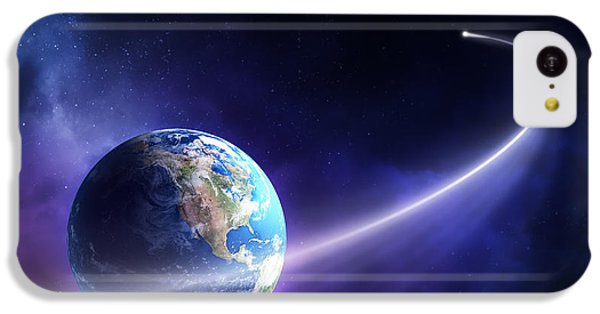 Planets iPhone 5c Case - Comet Moving Past Planet Earth by Johan Swanepoel