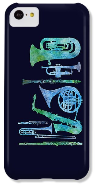 Trombone iPhone 5c Case - Cool Blue Band by Jenny Armitage