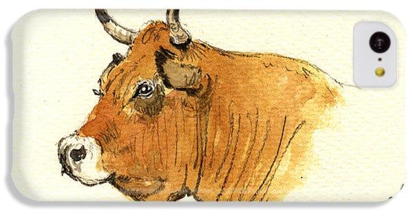 Bull iPhone 5c Case - Cow Head Study by Juan  Bosco
