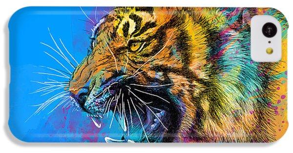 Animals iPhone 5c Case - Crazy Tiger by Olga Shvartsur