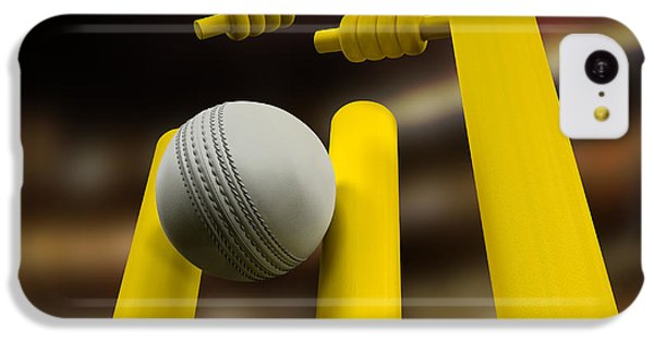 Cricket iPhone 5c Case - Cricket Ball Hitting Wickets Night by Allan Swart