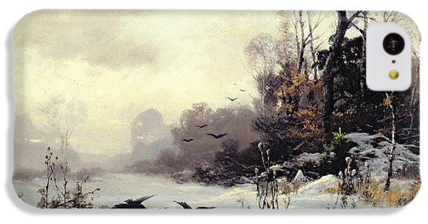 Crows In A Winter Landscape IPhone 5c Case by Karl Kustner