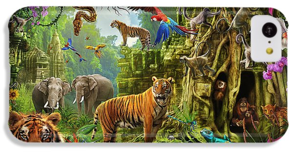 IPhone 5c Case featuring the drawing Dark Jungle Temple And Tigers by Ciro Marchetti