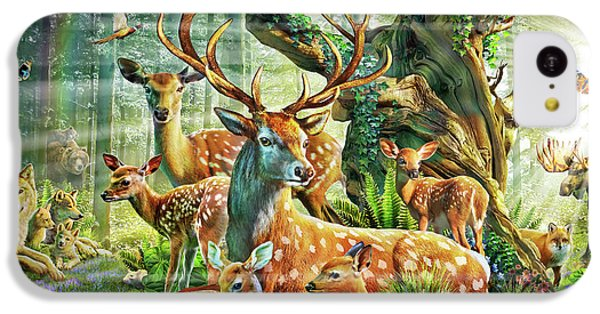 IPhone 5c Case featuring the drawing Deer Family In The Forest by Adrian Chesterman
