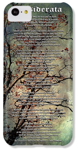 Desiderata Inspiration Over Old Textured Tree IPhone 5c Case