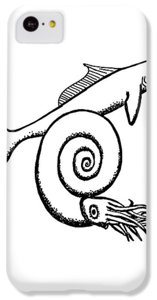 Devonian Shark And Ammonoid IPhone 5c Case by Richard Bizley