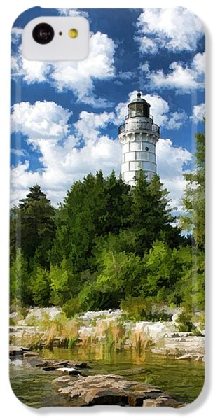 Cana Island Lighthouse Cloudscape In Door County IPhone 5c Case by Christopher Arndt