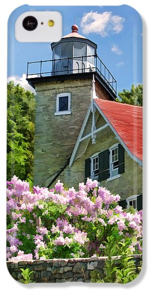 Door County Eagle Bluff Lighthouse Lilacs IPhone 5c Case by Christopher Arndt
