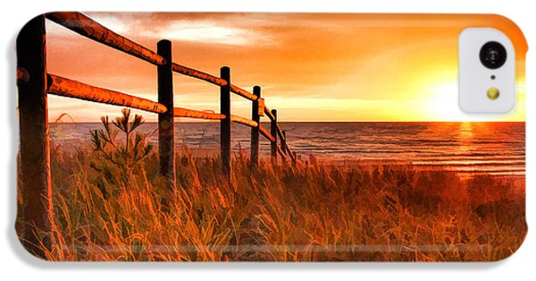 Door County Europe Bay Fence Sunrise IPhone 5c Case by Christopher Arndt