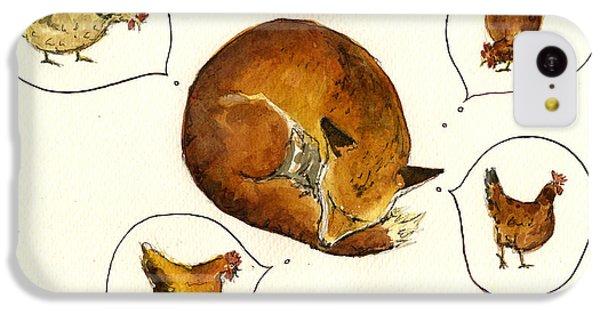 Chicken iPhone 5c Case - Dreaming Fox by Juan  Bosco