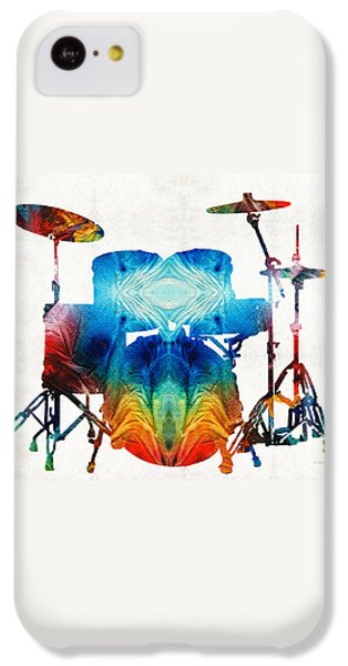 Drum iPhone 5c Case - Drum Set Art - Color Fusion Drums - By Sharon Cummings by Sharon Cummings