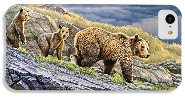 Bear iPhone 5c Case - Dunraven Pass Grizzly Family by Paul Krapf