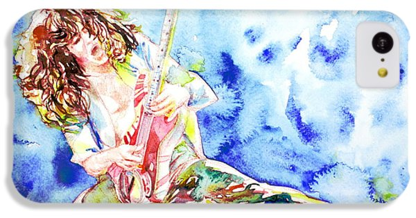 Eddie Van Halen Playing The Guitar.1 Watercolor Portrait IPhone 5c Case by Fabrizio Cassetta