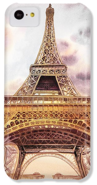 IPhone 5c Case featuring the painting Eiffel Tower Vintage Art by Irina Sztukowski