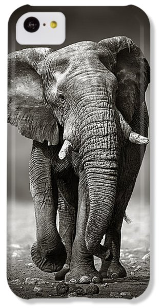 Bull iPhone 5c Case - Elephant Approach From The Front by Johan Swanepoel