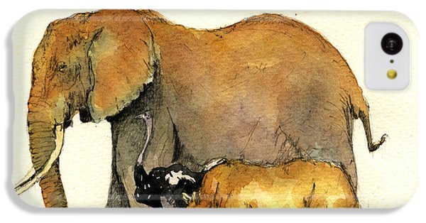 Elephant Ostrich And Rhino IPhone 5c Case by Juan  Bosco