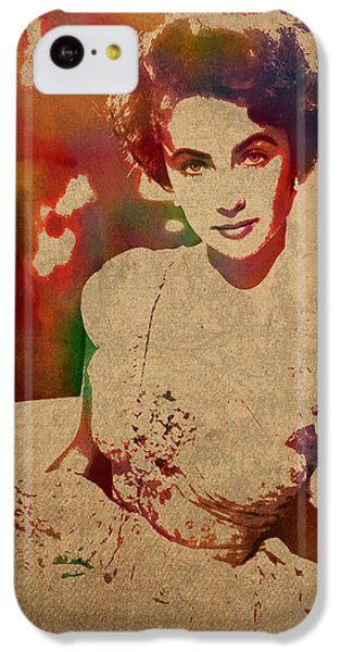 Elizabeth Taylor iPhone 5c Case - Elizabeth Taylor Watercolor Portrait On Worn Distressed Canvas by Design Turnpike
