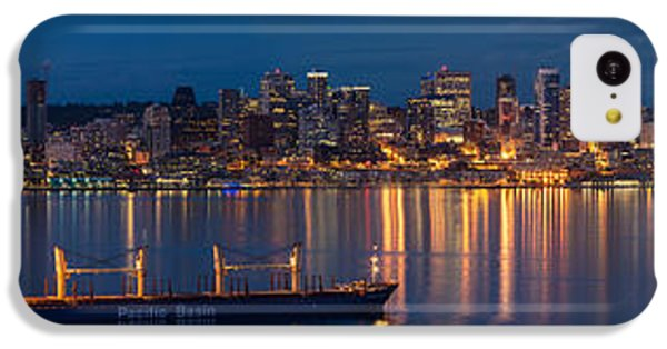 Elliott Bay Seattle Skyline Night Reflections  IPhone 5c Case by Mike Reid