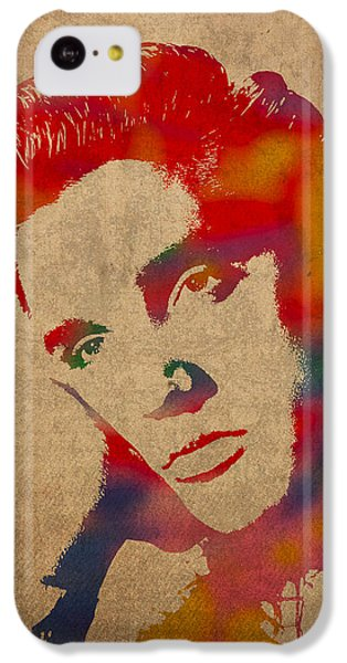 Portraits iPhone 5c Case - Elvis Presley Watercolor Portrait On Worn Distressed Canvas by Design Turnpike