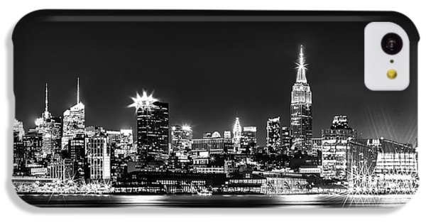 Empire State Building iPhone 5c Case - Empire State At Night - Bw by Az Jackson
