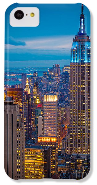 City Scenes iPhone 5c Case - Empire State Blue Night by Inge Johnsson