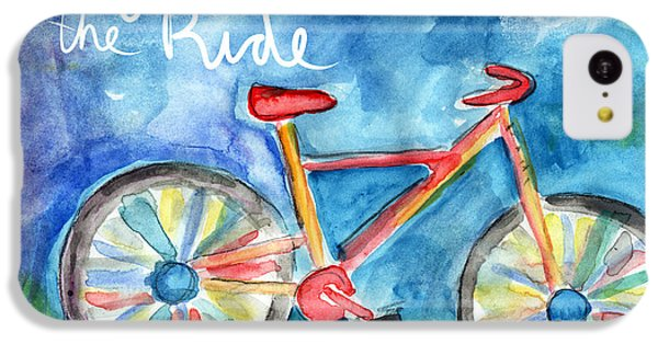 Bicycle iPhone 5c Case - Enjoy The Ride- Colorful Bike Painting by Linda Woods