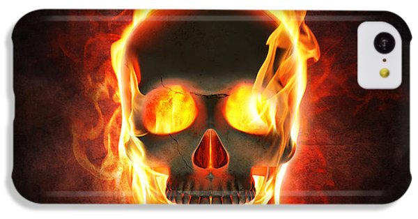 Magician iPhone 5c Case - Evil Skull In Flames And Smoke by Johan Swanepoel