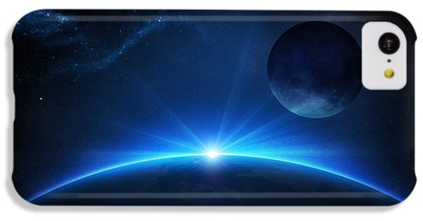 Planets iPhone 5c Case - Fantasy Earth And Moon With Sunrise by Johan Swanepoel