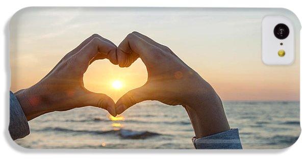 Beautiful Sunrise iPhone 5c Case - Fingers Heart Framing Ocean Sunset by Elena Elisseeva