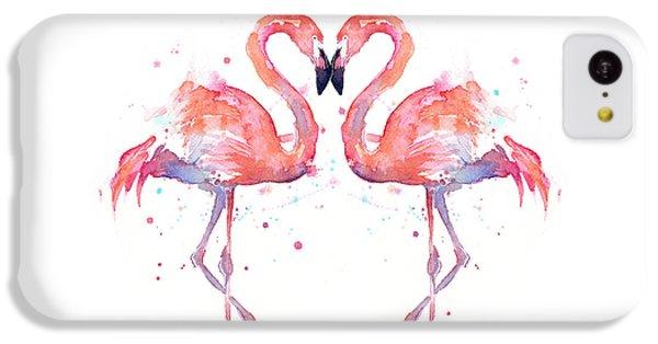 Animal iPhone 5c Case - Flamingo Love Watercolor by Olga Shvartsur