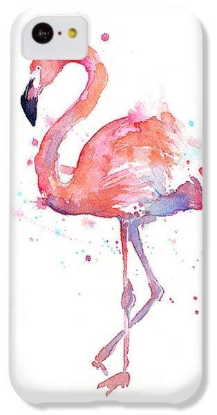 Portraits iPhone 5c Case - Flamingo Watercolor by Olga Shvartsur