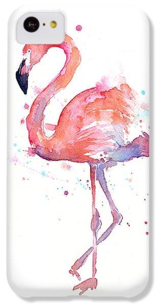 Animals iPhone 5c Case - Flamingo Watercolor by Olga Shvartsur