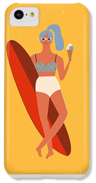 T Shirts iPhone 5c Case - Flat Illustration With Surfer Girl With by Tasiania