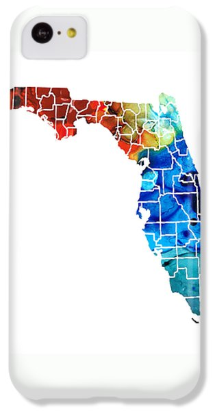Florida - Map By Counties Sharon Cummings Art IPhone 5c Case by Sharon Cummings