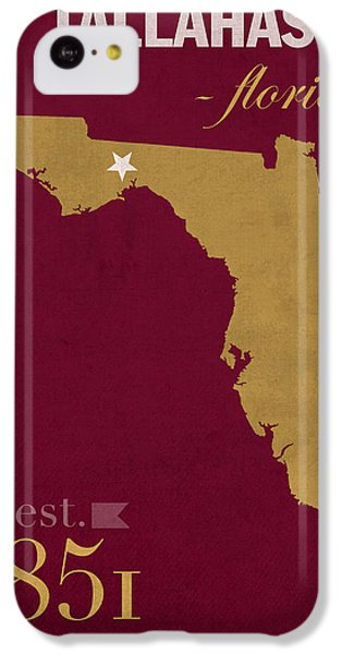 Florida State University Seminoles Tallahassee Florida Town State Map Poster Series No 039 IPhone 5c Case by Design Turnpike