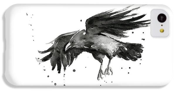Raven iPhone 5c Case - Flying Raven Watercolor by Olga Shvartsur